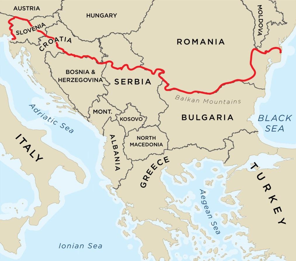 Balkan countries map