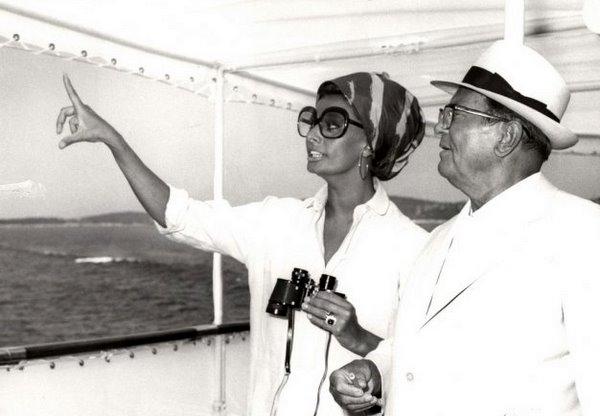 Josip Broz Tito and Sophia Loren on Galeb